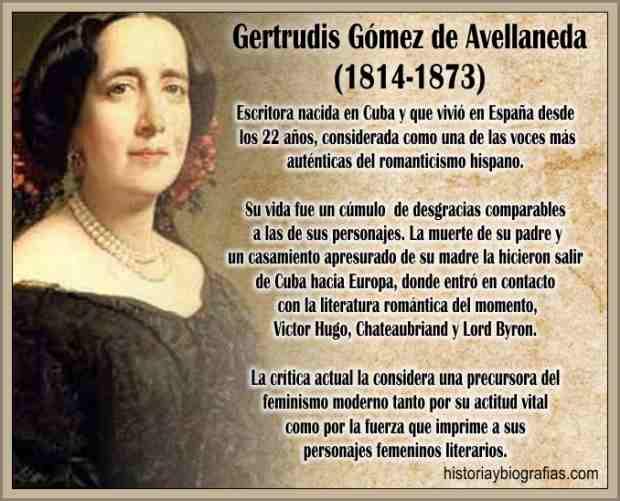 Biografía de Gertrudis Gómez de Avellaneda y Arteaga Poetisa