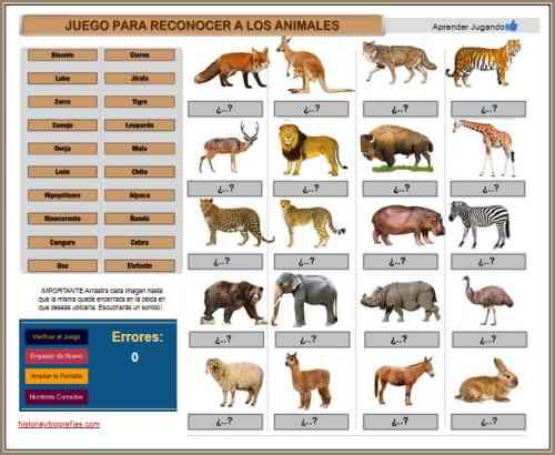 juego para aprender animales