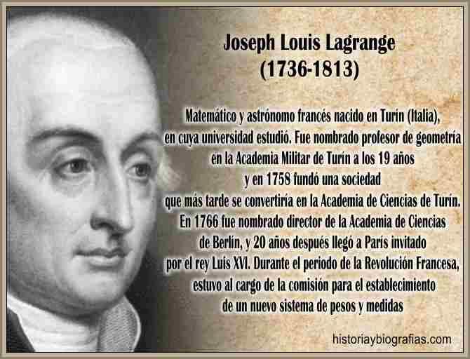 Biografia de Lagrange Joseph Louis