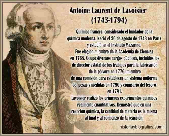 Biografia de Lavoisier Antoine Descubrimientos en la Quimica Trabajos