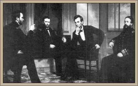 lincoln reunido con  sherman y grant