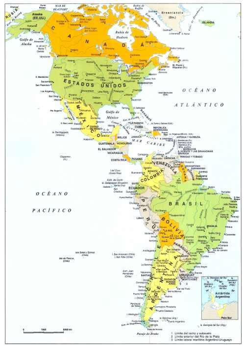 mapa de america continente