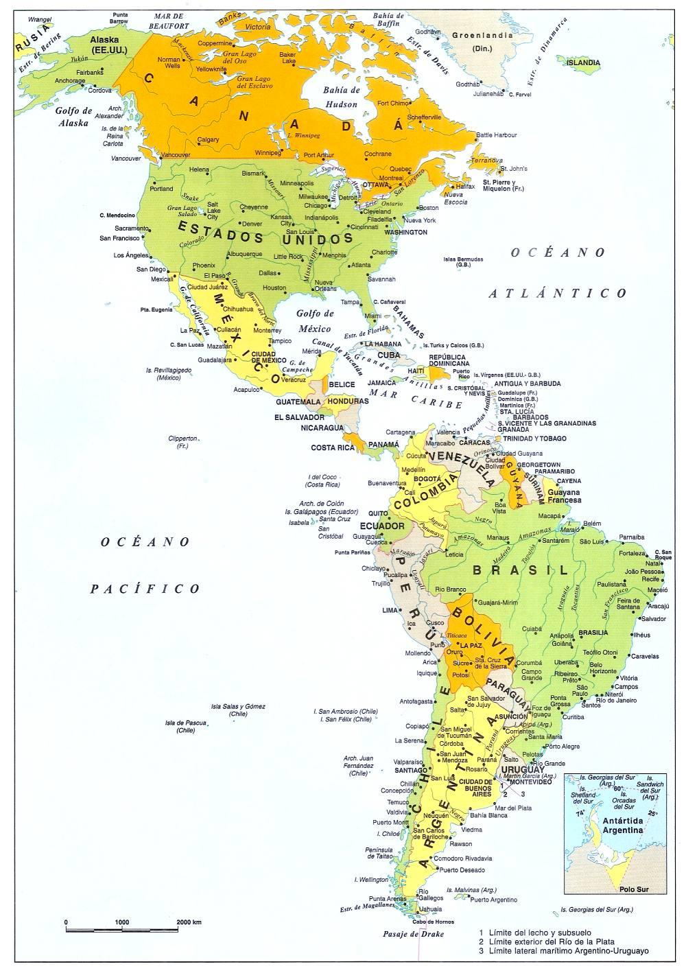 Banderas de los Paises de America Capitales, Lenguas y Población