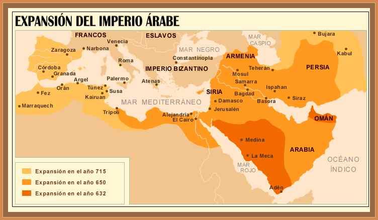 mapa del imperio arabe