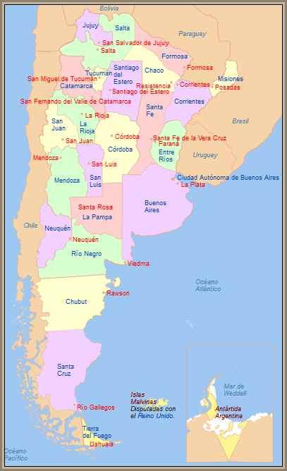 mapa de provincias argentina