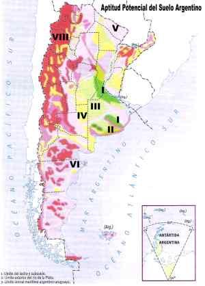 mapa de aptitud potencial del suelo argentino