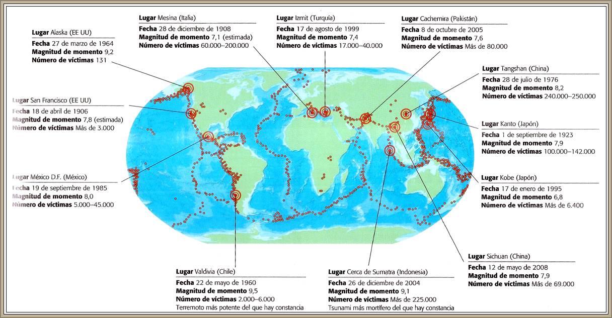 mapa de los mas importantes terremotos