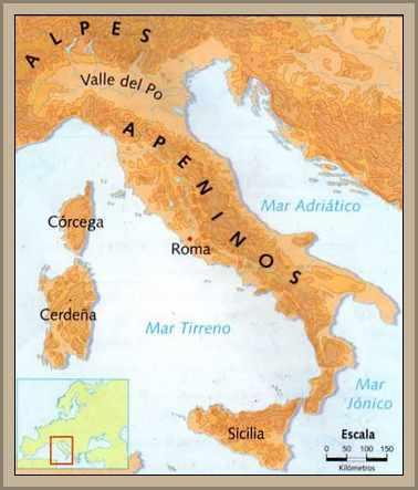 mapa ubicacion de los apeninos