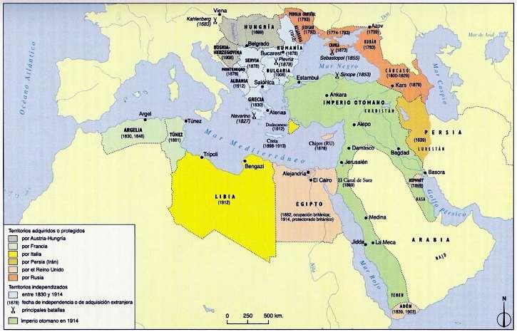 MAPA imperio turco en 1914