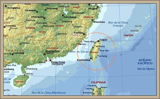 mapa de taiwan-isla de formosa