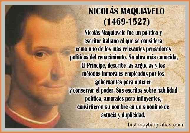 Biografia de Nicolas Maquiavelo Perfil del Principe Ideas Politicas