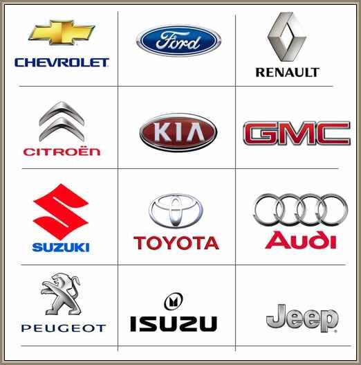 sopa de letras: logos de la mas marcas de automoviles mas populares