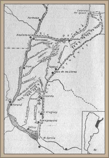 mapa de la mesopotamia argentina