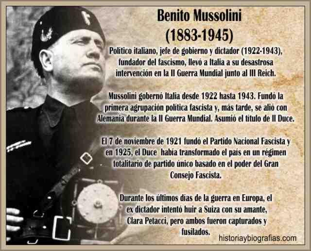 Biografia Benito Mussolini Fascismo de Mussolini Dictador Italiano