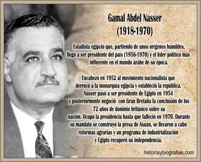 Biografia de Nasser Gamal A. Presidente de Egipto Lider