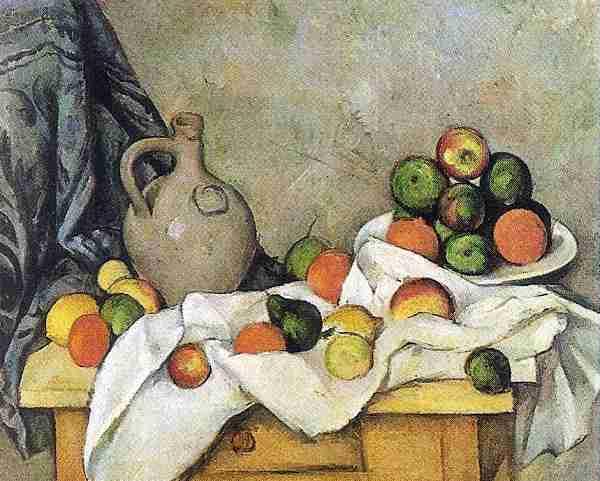 Cortina, Jarro y Frutero: Obra artistica de Cezanne Paul