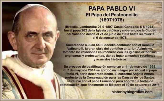Biografia Papa Pablo VI Resumen Obra Pontificia en el Concilio ...
