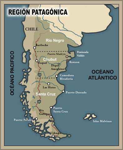 mapa region patagonica