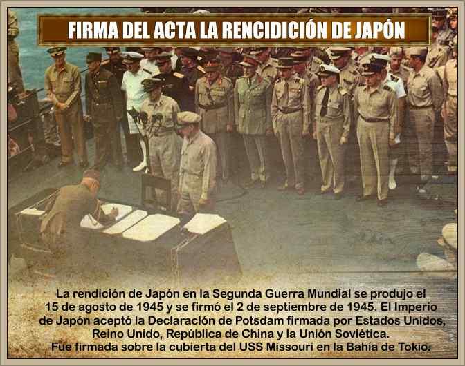 firma acta de rendicion de japon en la segunda guerra mundial