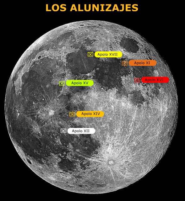 Lugares de Alunizajes: Mapa de los Sitios del Descenso del Modulo Lunar -  BIOGRAFÍAS e HISTORIA UNIVERSAL,ARGENTINA y de la CIENCIA