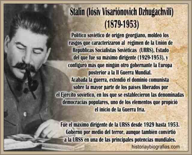 Biografia de Josef Stalin Dictadura en Rusia Historia de su Gobierno