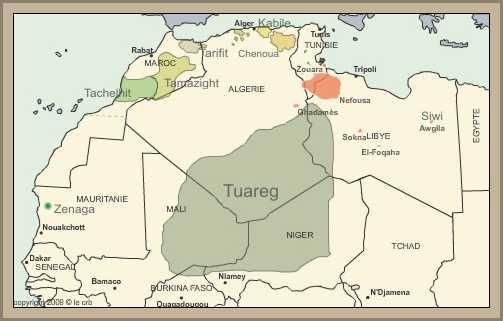 mapa ubicacion tuareg y bereberes